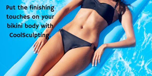 wearing a bikini in a pool after CoolSculpting - Los Angeles
